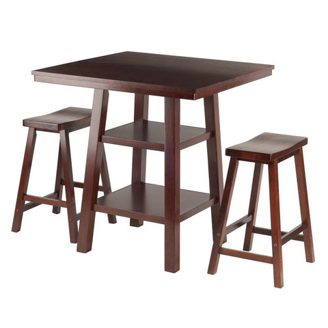 Winsome Wood 94308 Orlando 3-Pc Set High Table, 2 Shelves w/ 2 Saddle Seat Stools - BarstoolDirect.com - 1