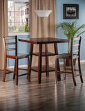 Winsome Wood 94312 Orlando 3-Pc Set High Table, 2 Shelves w/ 2 Ladder Back Stools - BarstoolDirect.com - 2