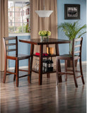 Winsome Wood 94312 Orlando 3-Pc Set High Table, 2 Shelves w/ 2 Ladder Back Stools - BarstoolDirect.com - 3