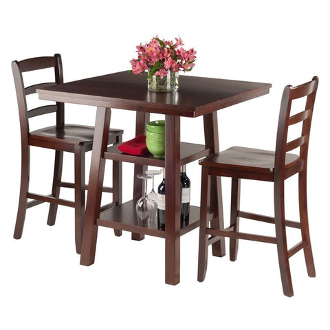 Winsome Wood 94312 Orlando 3 Pc Set High Table 2 Shelves