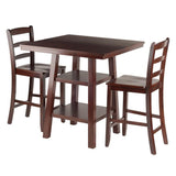 Winsome Wood 94312 Orlando 3-Pc Set High Table, 2 Shelves w/ 2 Ladder Back Stools - BarstoolDirect.com - 1