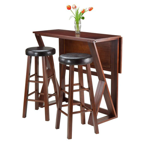 "Winsome Wood 94336 Harrington 3-Pc Drop Leaf High Table, 2-29"" Cushion Round Seat Stools - BarstoolDirect.com - 2"