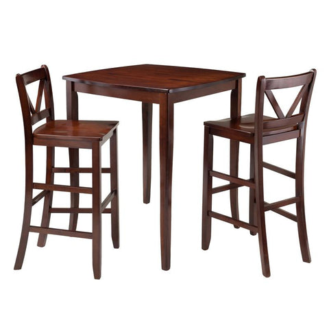 Winsome Wood 94337 Inglewood 3-Pc High Table with 2 Bar V-Back Stools - BarstoolDirect.com