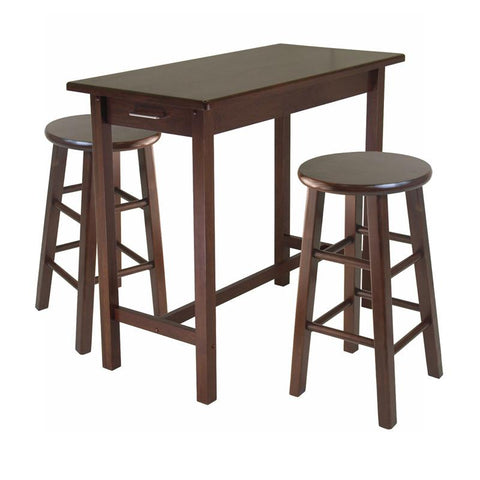 Winsome Wood 94342 3-Pc Breakfast Table with 2 Square Leg Stools - BarstoolDirect.com
