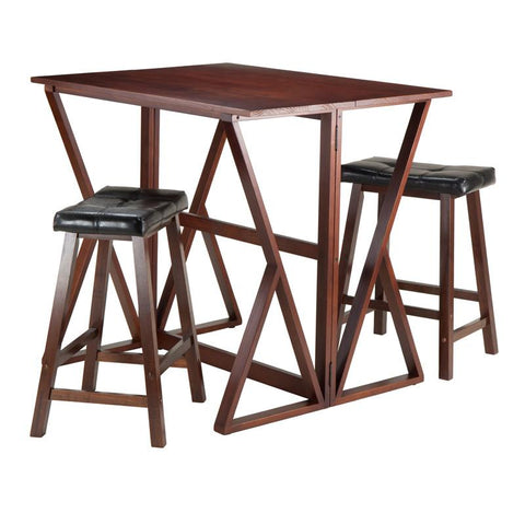 "Winsome Wood 94345 Harrington 3-Pc Drop Leaf High Table, 2 - 24"" Cushion Saddle Seat Stools - BarstoolDirect.com"