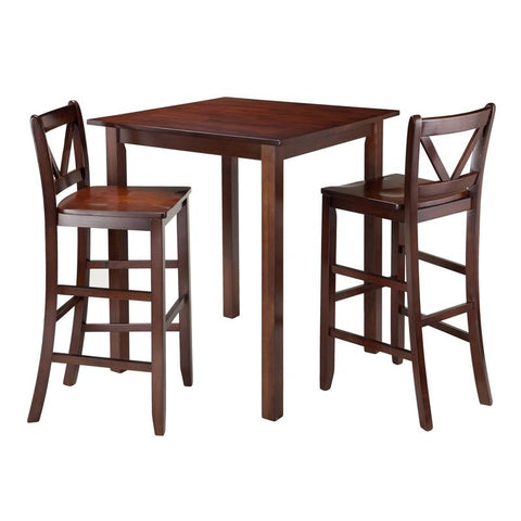 Winsome Wood 94348 Parkland 3-Pc High Table with 2 Bar V-Back Stools - BarstoolDirect.com