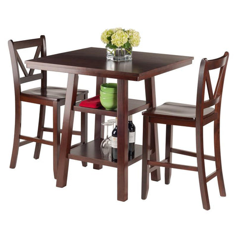 Winsome Wood 94351 Orlando 3-Pc Set High Table, 2 Shelves w/ 2 V-Back Counter Stools - BarstoolDirect.com - 4