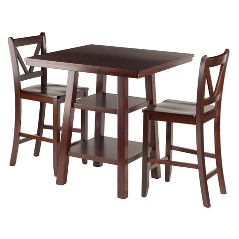 Winsome Wood 94351 Orlando 3-Pc Set High Table, 2 Shelves w/ 2 V-Back Counter Stools - BarstoolDirect.com - 1