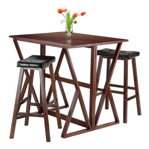 "Winsome Wood 94361 Harrington 3-Pc Drop Leaf High Table, 2 -29"" Cushion Saddle Seat Stools - BarstoolDirect.com"
