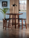 Winsome Wood 94362 Orlando 3-Pc Set High Table, 2 Shelves w/ 2 Cushion Seat Stools - BarstoolDirect.com - 2