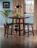 Winsome Wood 94362 Orlando 3-Pc Set High Table, 2 Shelves w/ 2 Cushion Seat Stools - BarstoolDirect.com - 3
