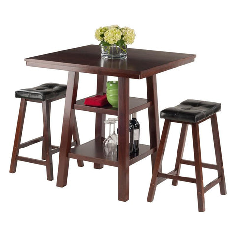 Winsome Wood 94362 Orlando 3-Pc Set High Table, 2 Shelves w/ 2 Cushion Seat Stools - BarstoolDirect.com - 4