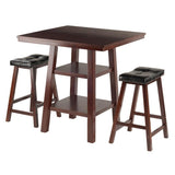 Winsome Wood 94362 Orlando 3-Pc Set High Table, 2 Shelves w/ 2 Cushion Seat Stools - BarstoolDirect.com - 1
