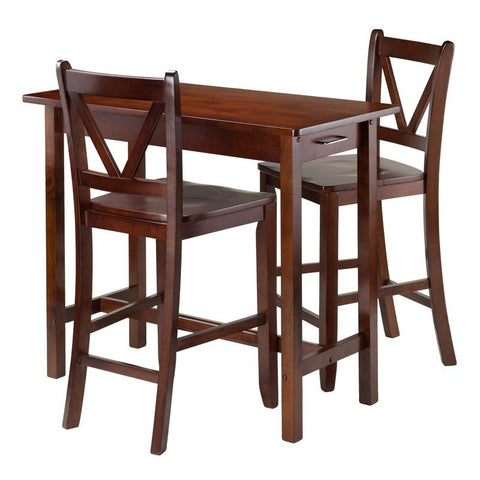 Winsome Wood 94364 3-Pc Kitchen Island Table with 2 V-Back Stool - BarstoolDirect.com - 2