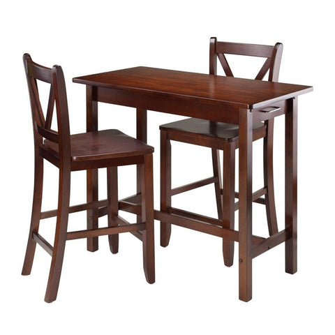 Winsome Wood 94364 3-Pc Kitchen Island Table with 2 V-Back Stool - BarstoolDirect.com - 1