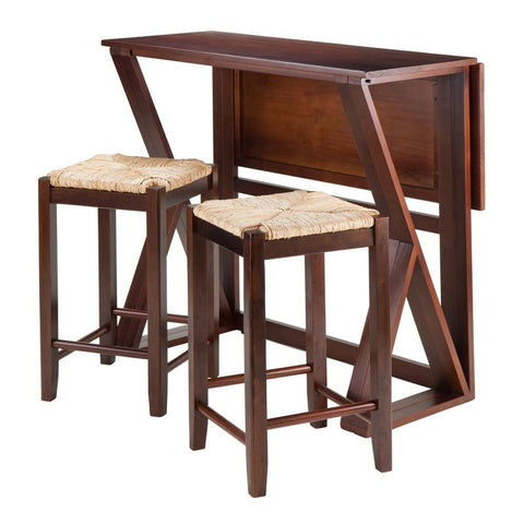 "Winsome Wood 94376 Harrington 3-Pc Drop Leaf High Table, 2-24"" Rush Seat Stools - BarstoolDirect.com"