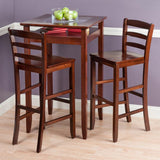 Winsome Wood 94386 Halo 3pc Pub Table Set with 2 Ladder Back Stools - BarstoolDirect.com - 2
