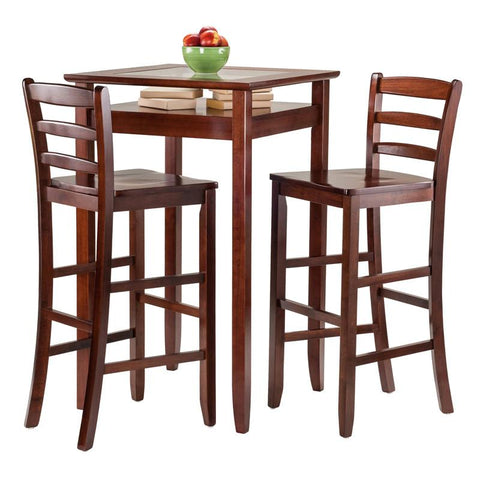 Winsome Wood 94386 Halo 3pc Pub Table Set with 2 Ladder Back Stools - BarstoolDirect.com - 3