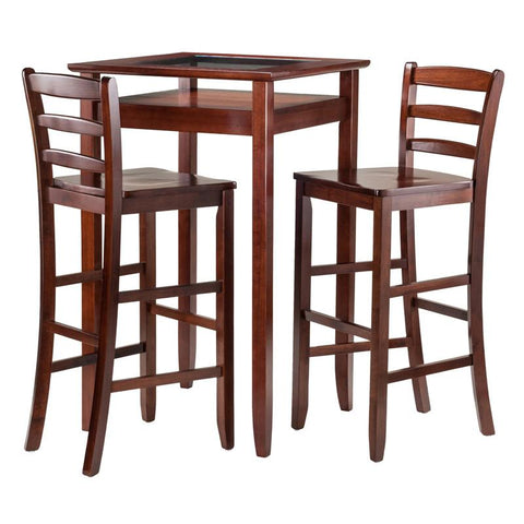 Winsome Wood 94386 Halo 3pc Pub Table Set with 2 Ladder Back Stools - BarstoolDirect.com - 1