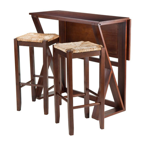"Winsome Wood 94393 Harrington 3-Pc Drop Leaf High Table, 2-29"" Rush Seat Stools - BarstoolDirect.com - 1"