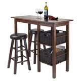 "Winsome Wood 94527 Egan 5pc Table with 2 - 24"" Round Cushion Stools and 2 Baskets - BarstoolDirect.com - 2"