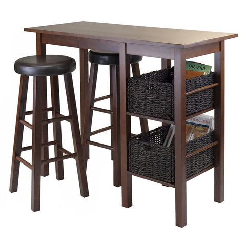 Winsome Wood 94531 Egan 5pc Breakfast Table with 2 Baskets and 2 Swivel Seat PVC Stools - BarstoolDirect.com - 2