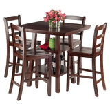 Winsome Wood 94542 Orlando 5-Pc Set High Table, 2 Shelves w/ 4 Ladder Back Stools - BarstoolDirect.com - 2