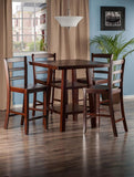 Winsome Wood 94542 Orlando 5-Pc Set High Table, 2 Shelves w/ 4 Ladder Back Stools - BarstoolDirect.com - 3
