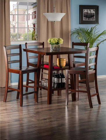 Winsome Wood 94542 Orlando 5-Pc Set High Table, 2 Shelves w/ 4 Ladder Back Stools - BarstoolDirect.com - 4