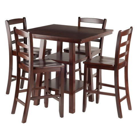 Winsome Wood 94542 Orlando 5-Pc Set High Table, 2 Shelves w/ 4 Ladder Back Stools - BarstoolDirect.com - 1