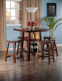 Winsome Wood 94548 Orlando 5-Pc Set High Table, 2 Shelves w/ 4 Saddle Seat Stools - BarstoolDirect.com - 2