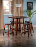 Winsome Wood 94548 Orlando 5-Pc Set High Table, 2 Shelves w/ 4 Saddle Seat Stools - BarstoolDirect.com - 3
