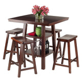 Winsome Wood 94548 Orlando 5-Pc Set High Table, 2 Shelves w/ 4 Saddle Seat Stools - BarstoolDirect.com - 4