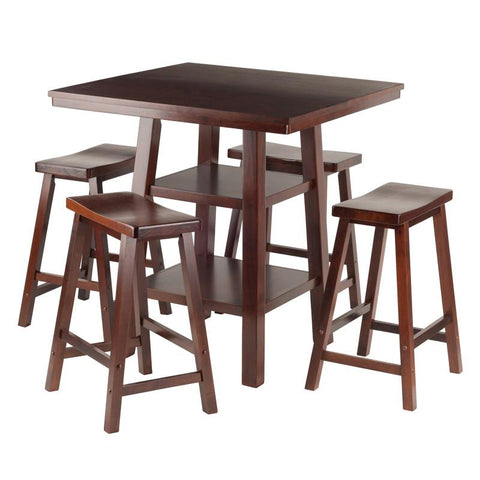 Winsome Wood 94548 Orlando 5-Pc Set High Table, 2 Shelves w/ 4 Saddle Seat Stools - BarstoolDirect.com - 1