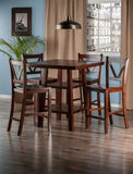 Winsome Wood 94554 Orlando 5-Pc Set High Table, 2 Shelves w/ 4 V-Back Counter Stools - BarstoolDirect.com - 2