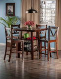 Winsome Wood 94554 Orlando 5-Pc Set High Table, 2 Shelves w/ 4 V-Back Counter Stools - BarstoolDirect.com - 3