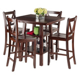 Winsome Wood 94554 Orlando 5-Pc Set High Table, 2 Shelves w/ 4 V-Back Counter Stools - BarstoolDirect.com - 4