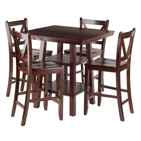 Winsome Wood 94554 Orlando 5-Pc Set High Table, 2 Shelves w/ 4 V-Back Counter Stools - BarstoolDirect.com - 1
