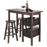 "Winsome Wood 94564 Egan 5pc Table with 2 - 24"" Square Legs Stools and 2 Baskets - BarstoolDirect.com - 2"