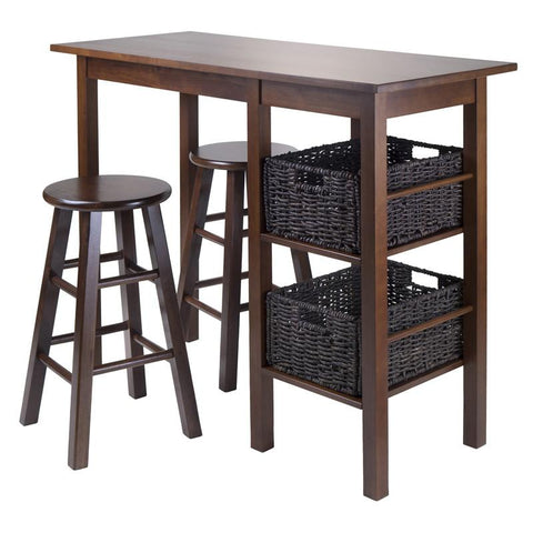 "Winsome Wood 94564 Egan 5pc Table with 2 - 24"" Square Legs Stools and 2 Baskets - BarstoolDirect.com - 1"