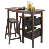 "Winsome Wood 94585 Egan 5pc Table with 2 - 24"" Saddle Seat Stools and 2 Baskets - BarstoolDirect.com - 2"