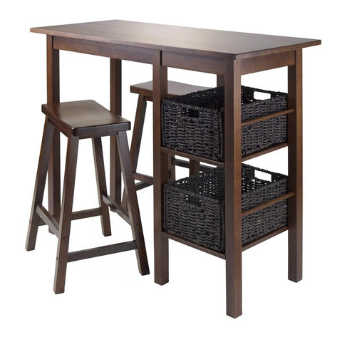 "Winsome Wood 94585 Egan 5pc Table with 2 - 24"" Saddle Seat Stools and 2 Baskets - BarstoolDirect.com - 1"