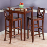 Winsome Wood 94586 Halo 3pc Pub Table Set with 2 V-Back Stools - BarstoolDirect.com - 2