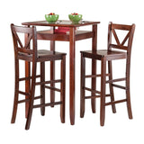 Winsome Wood 94586 Halo 3pc Pub Table Set with 2 V-Back Stools - BarstoolDirect.com - 3