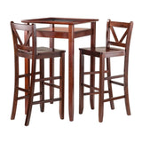 Winsome Wood 94586 Halo 3pc Pub Table Set with 2 V-Back Stools - BarstoolDirect.com - 1