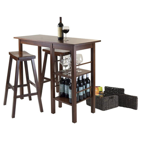 Winsome Wood 94589 Egan 5pc Breakfast Table with 2 Baskets and 2 Saddle Seat Stools - BarstoolDirect.com - 3