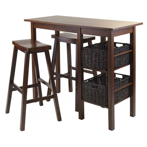 Winsome Wood 94589 Egan 5pc Breakfast Table with 2 Baskets and 2 Saddle Seat Stools - BarstoolDirect.com - 1