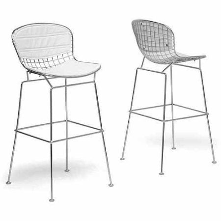 Wholesale Interiors BS-479-white cushion Tolland Modern Bar Stool with White Cushion - Set of 2