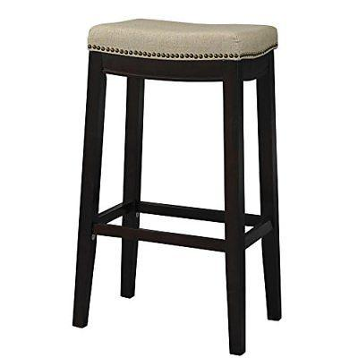 Linon 98326WAL-01-KD Hampton Fabric Top Bar Stool