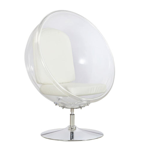 Fine Mod Imports FMI9993-white Ball Acrylic Chair, White - Peazz.com - 1